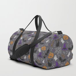 Halloween party symbols grey embroidery print Duffle Bag