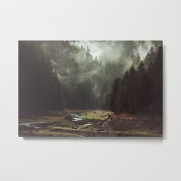 Foggy Forest Creek Metal Print