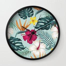 Hawaiian Dream in Fuschia and Aqua Wall Clock