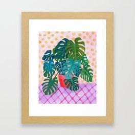 Monstera Houseplant Painting Framed Art Print