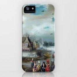 Adam van Breen Skating on the Frozen Amstel River iPhone Case