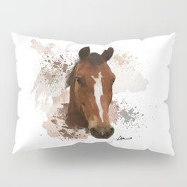 Brown and White Horse Watercolor Pillow Sham