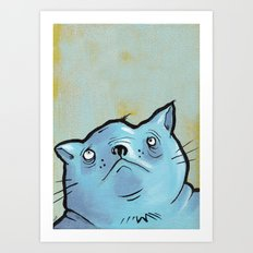 Sad Fat Cat Art Print