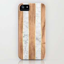 Wood Grain Stripes - White Marble #497 iPhone Case