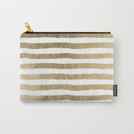 White faux gold elegant modern striped pattern Carry-All Pouch
