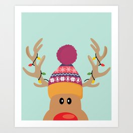 Rudolph Red Nosed Reindeer is looking at you Art Print