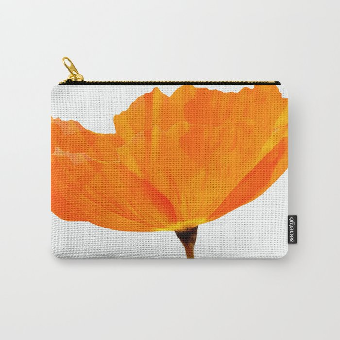 One And Only - Orange Poppy White Background #decor #society6#buyart Carry-All Pouch