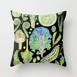 Harvest of Green - Black Throw Pillow