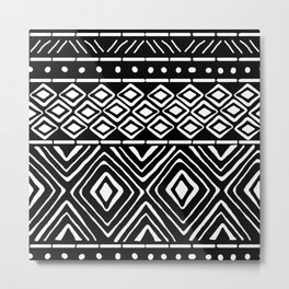African Mud Cloth // Black Metal Print