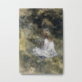A Girl with Flowers on the Grass, 1878 by Jacob Maris Metal Print