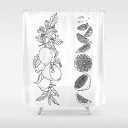 Citrus Branch of Lemons and Slices of Fruit Shower Curtain