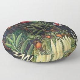 Henri Rousseau - Monkeys and Parrot in the Virgin Forest Floor Pillow