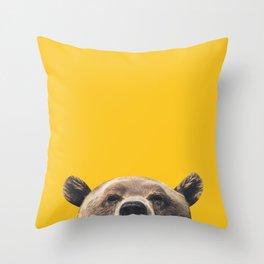 Bear - Yellow Throw Pillow