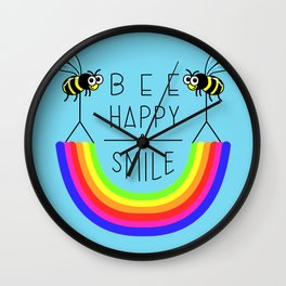BEE HAPPY & SMILE Wall Clock