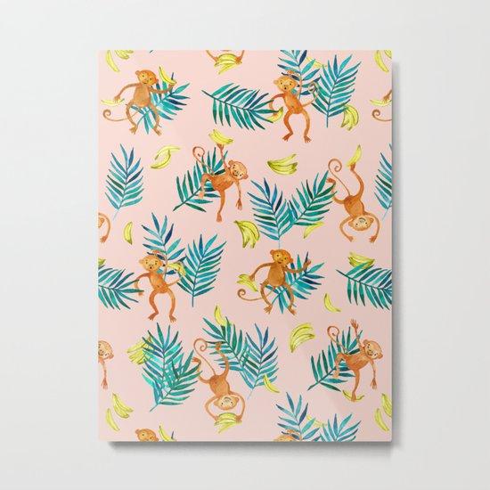 Tropical Monkey Banana Bonanza on Blush Pink Metal Print