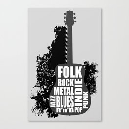Guitar and styles Canvas Print