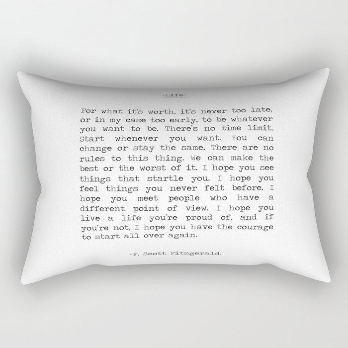 Life quote F. Scott Fitzgerald Rectangular Pillow