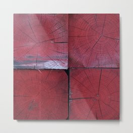 4 red wooden blocks Metal Print