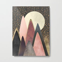 Pink and Gold Peaks Metal Print