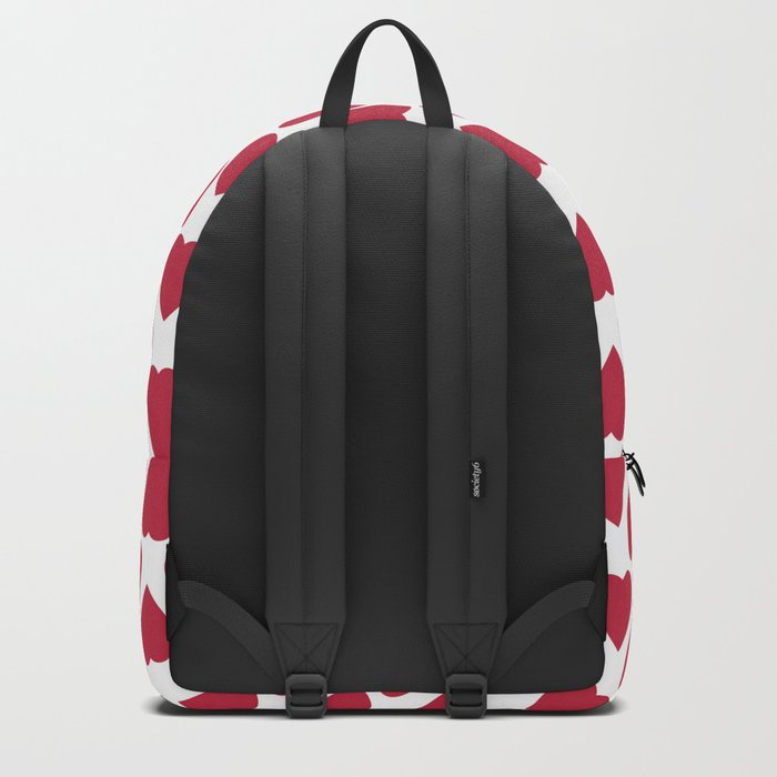Red hearts on a white background. Backpack