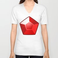 ruby V-neck T-shirts featuring ruby by tsynali