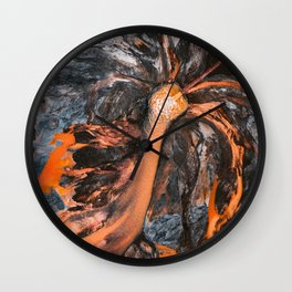 Abstract Painting - Volcano Eruption Aerial Wall Clock