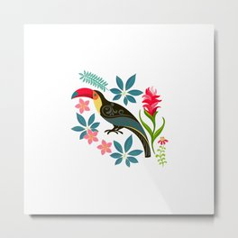 Floral Toucan Metal Print