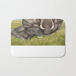 Elephants on the Serengeti - Handdrawn  Bath Mat