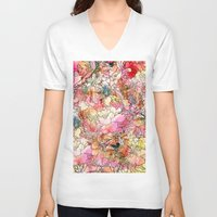 preppy V-neck T-shirts featuring Summer Flowers | Colorful Watercolor Floral Pattern Abstract Sketch by Girly Trend