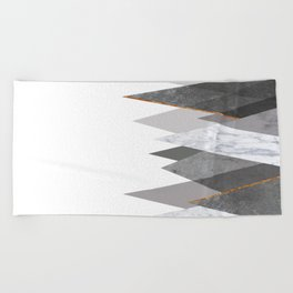 Marble Gray Copper Black and White Mountains Beach Towel