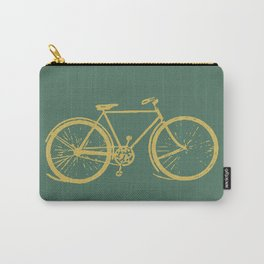 Gold Bicycle on Turquoise Carry-All Pouch
