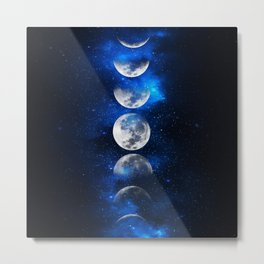 Phases of the Moon Blue Metal Print