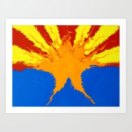 Arizona Flag (Poured Acrylic Style) Art Print