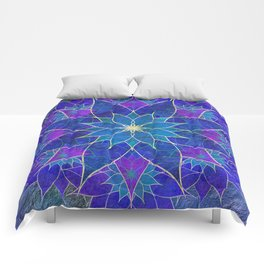 Lotus 2 - blue and purple Comforters