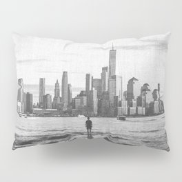 New York City Skyline Views and Vibes Black and White Pillow Sham