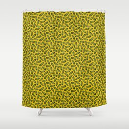 A Plethora Of Pickles - Green & Yellow Gherkin Pattern Shower Curtain