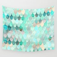 mermaid Wall Tapestries featuring SUMMER MERMAID by Monika Strigel