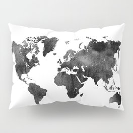 World Map | Black and White Watercolour Pillow Sham