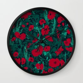 Poppies in the Dark Wall Clock