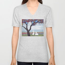 bunnies and the stained glass tree Unisex V-Neck
