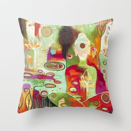 """Rooted In Love"" Original Painting by Flora Bowley Throw Pillow"