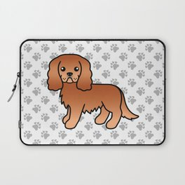 Cute Ruby Cavalier King Charles Spaniel Dog Cartoon Illustration Laptop Sleeve