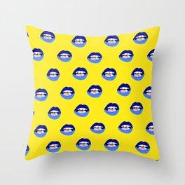 Blue Lips Throw Pillow