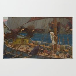 Ulysses and the Sirens by John William Waterhouse Rug