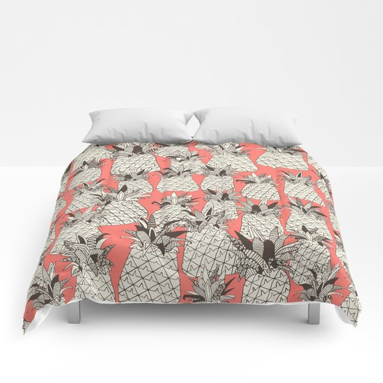 pineapple blush coral Comforters