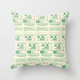 Vintage Bus Ticket Bologna Pattern Pop Art Throw Pillow