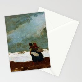12,000pixel-500dpi - Winslow Homer1 - Two Figures By The Sea - Digital Remastered Edition Stationery Cards