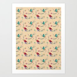 Abstract Spring Summer Colorful Hummingbirds Art Print