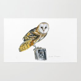 Strike a Pose - painting of a young Barn Owl by Teresa Thompson Rug