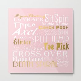 Figure Skating Subway Style Typographic Design Millennial Pink and  Gold Foil Metal Print